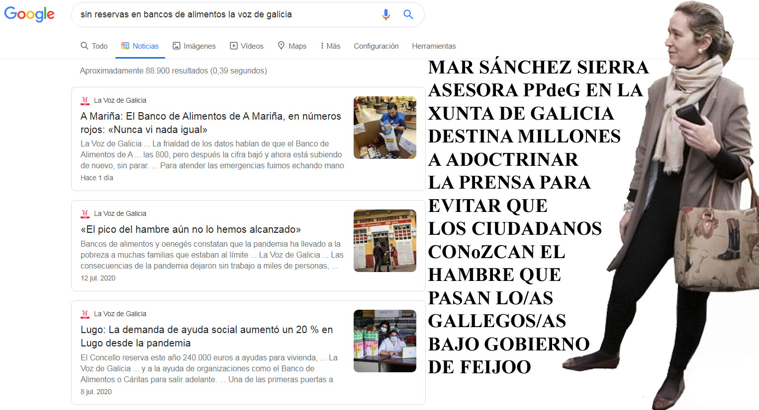 """Mientras María del Mar dilapida millones de euros en propaganda política  reputacional del PPdeG, el que más dinero público recibe le """" larga un  recado """", los bancos de alimentos vacíos ante"""