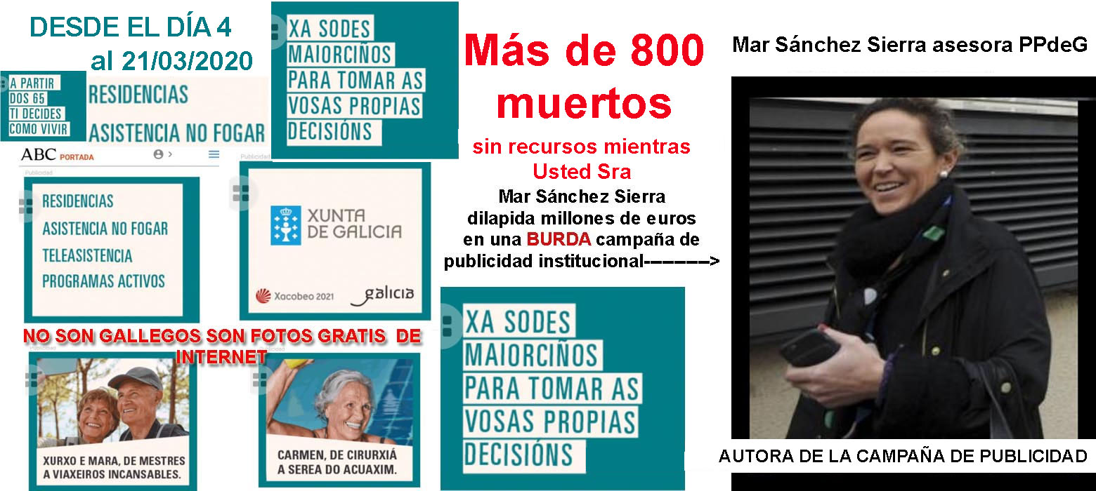 Mentres morren ancianos nas residencias sen control María del Mar fai publicidade de Fake News sobre os mundos de YUPI referendose a terceira idade en Galicia e a Fiscalía sen actuar.